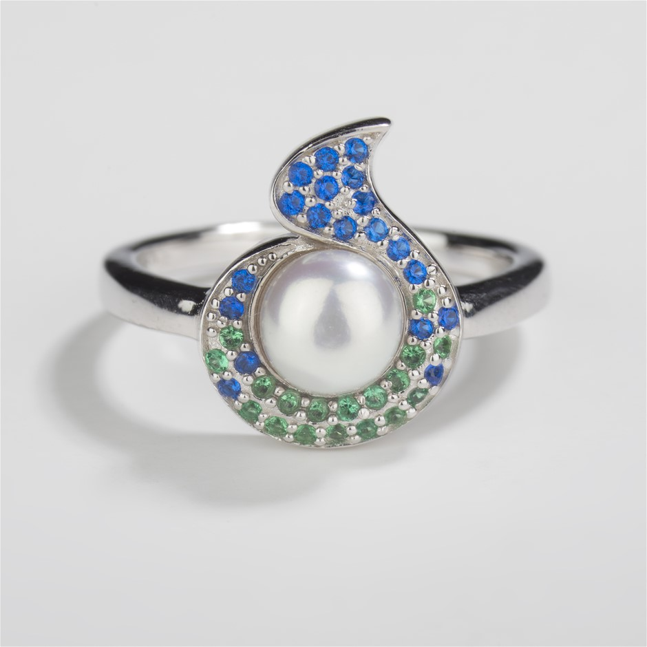 Sterling Silver Ring, Freshwater Pearl & CS set