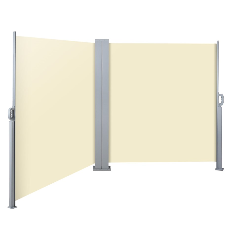 Instahut 1.8MX6M Retractable Double Awning Privacy Screen Shade Beige