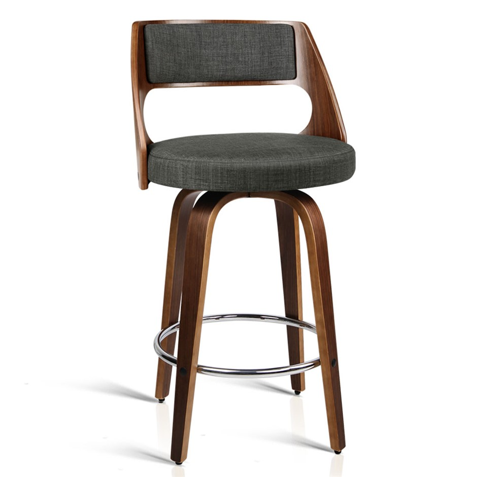 Artiss 2x Wooden Bar Stools Swivel Barstool Chair Charcoal Fabric