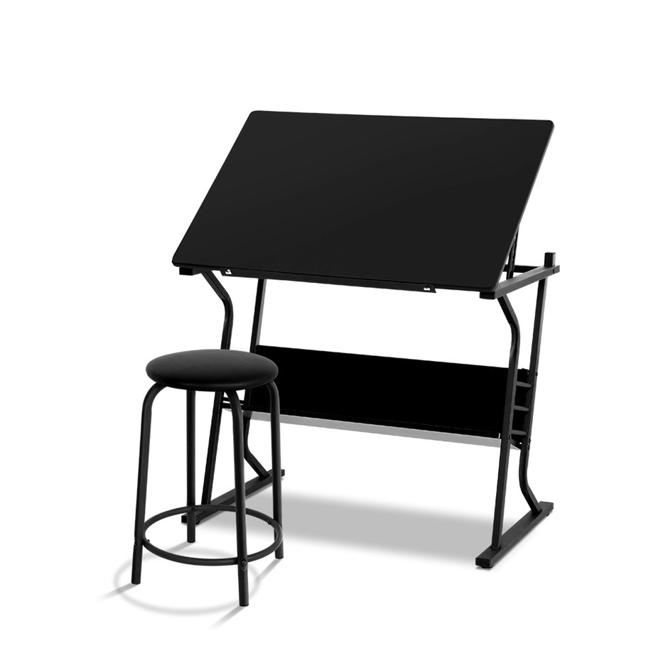 Drawing Drafting Table Craft Adjustable Glass Art Tilt Drawers Black Metal