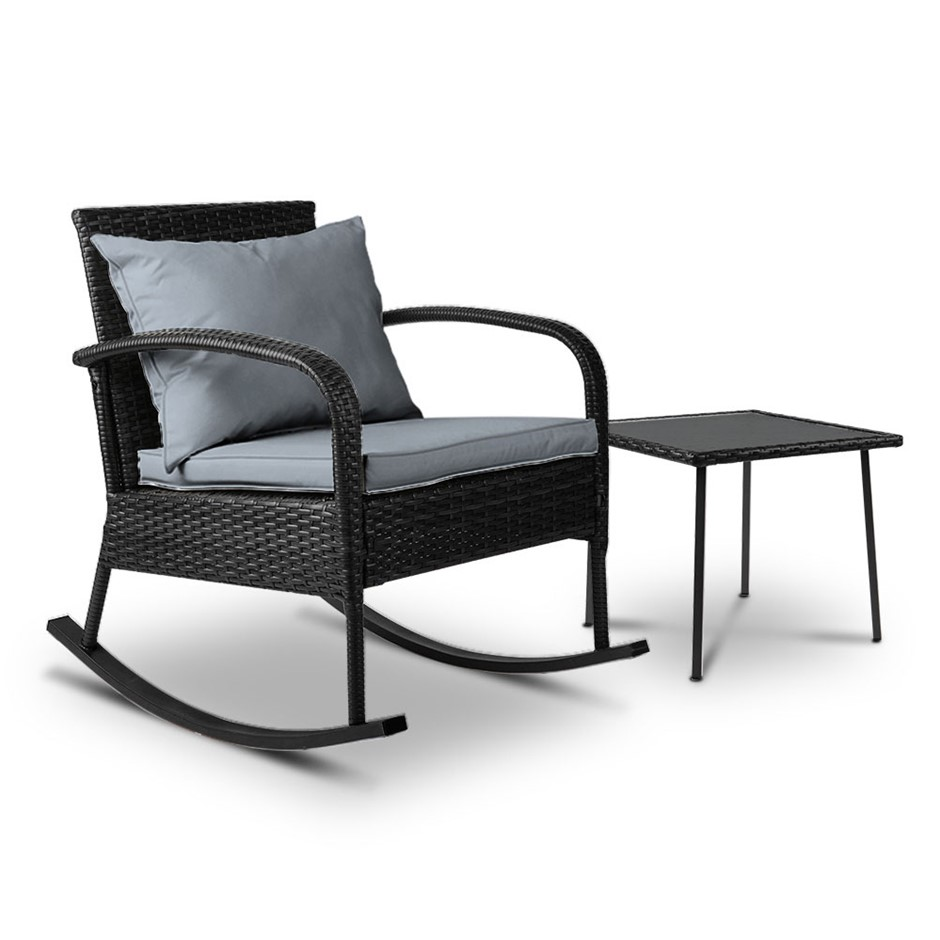 Gardeon Outdoor Furniture Rocking Chair Table Wicker Garden Patio Black