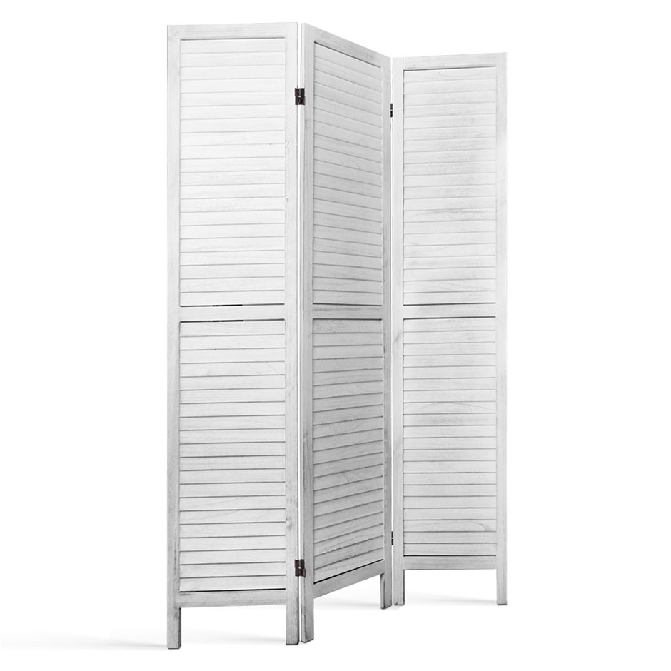 3 Panel Room Divider Screen Privacy Wood Foldable Timber Stand White 170cm