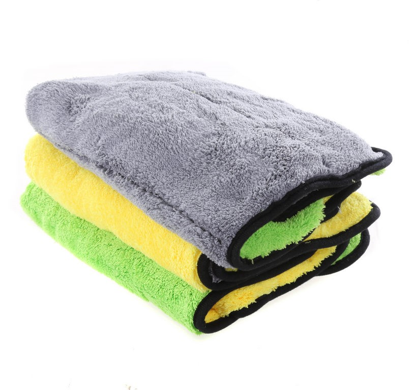 3-Pack Double Layered Microfibre Cleaning Cloths, 40 x 60cm 850GSM Super Ab