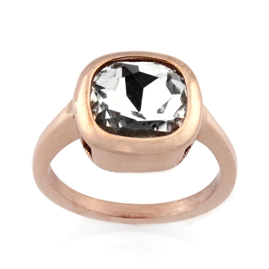 Ladies Stainless Steel Ring - Ring Size : O