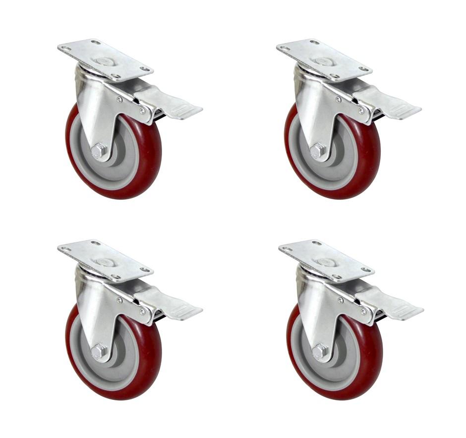 """4 X 5"""" Heavy Duty 800kg Swivel Castor Wheels Trolley Furniture Caster Brake"""