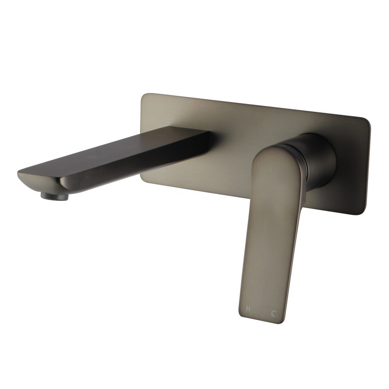 Brushed Gunmetal Grey Bathtub Basin Wall Mixer With Spout