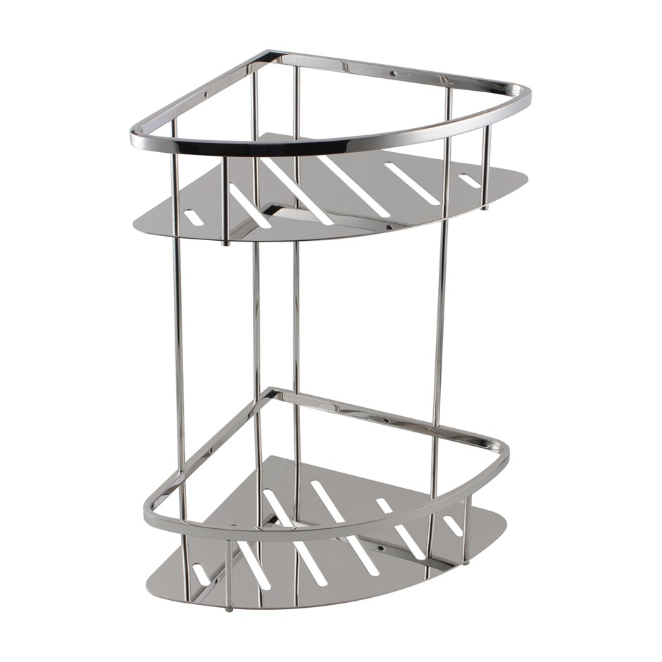 Chrome Stainless Steel 2 Tier Shower Caddy Shelf