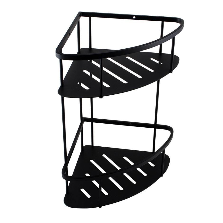 Matte Black Stainless Steel 2 Tier Shower Caddy Shelf