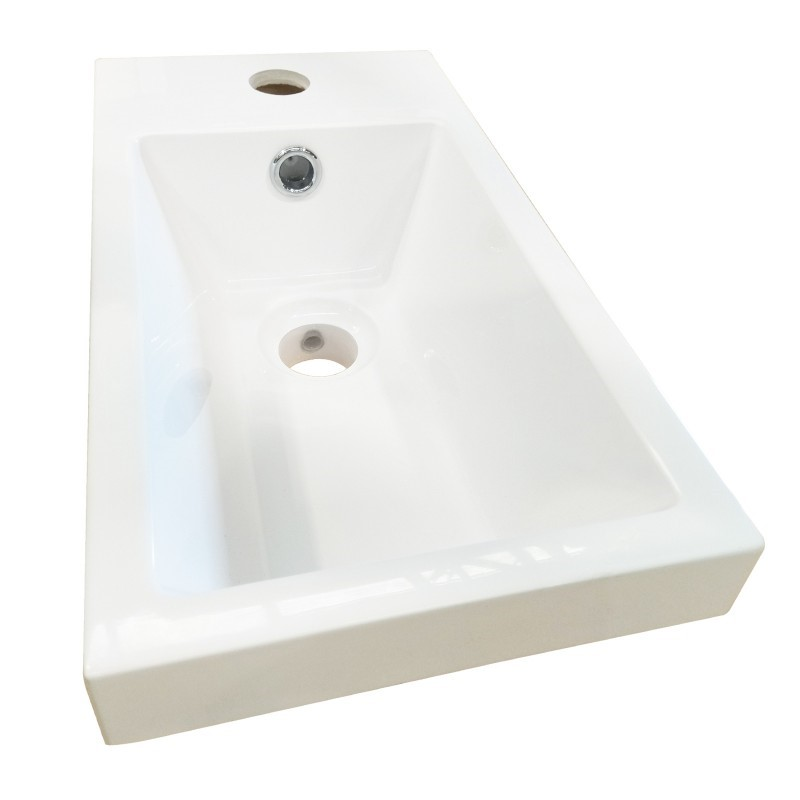 395 x 210 x 150mm Rectangle White Insert Basin With Tap Hole