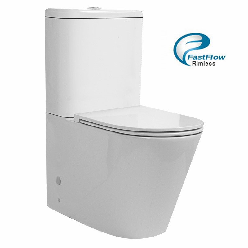 635 x 350 x 870mm Bathroom Rimless Back To Wall White Ceramic Toilet Suite