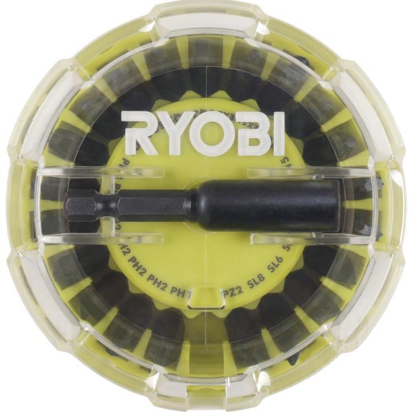 RYOBI 22pcs Impact Screwdriver Bit Set c/w Built-In Magnetic Case. Buyers N