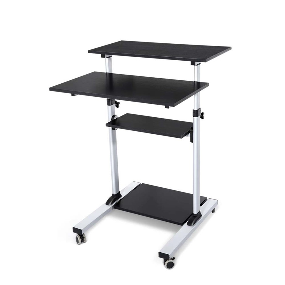 Height Adjustable Mobile Work Station Standing Laptop Desk Bedside Table