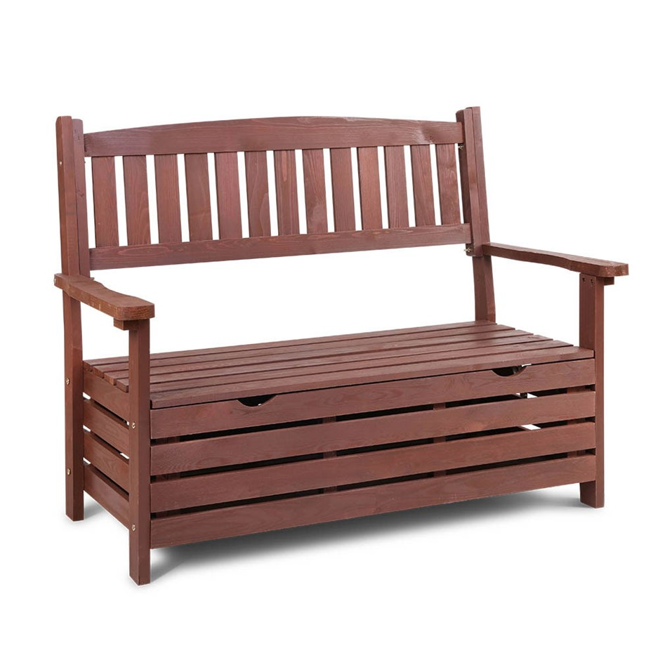 Gardeon Outdoor Storage Bench Wooden Garden Chair 2 Seat Timber Yard