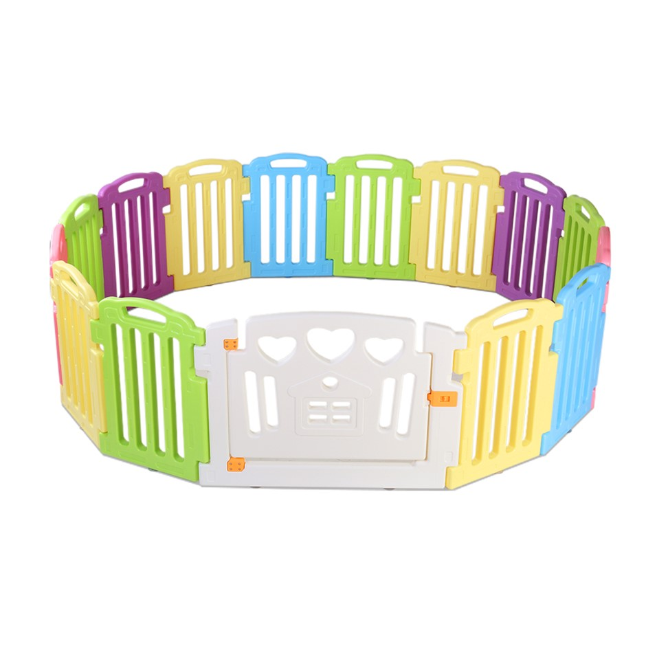 15-Panel Plastic Baby Playpen Kids Toddler Gate Safety Divider Lock