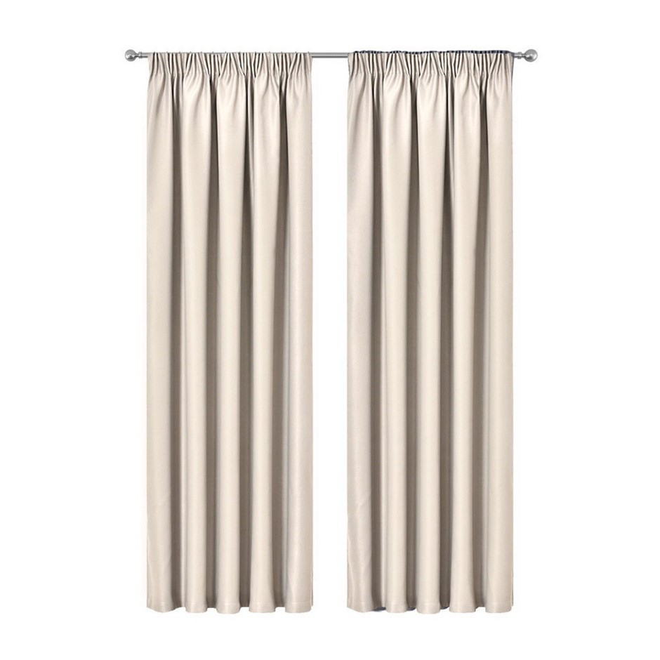 Artqueen 2x Pleat Blockout Curtains Room Darkening Blackout 180x213cm Sand