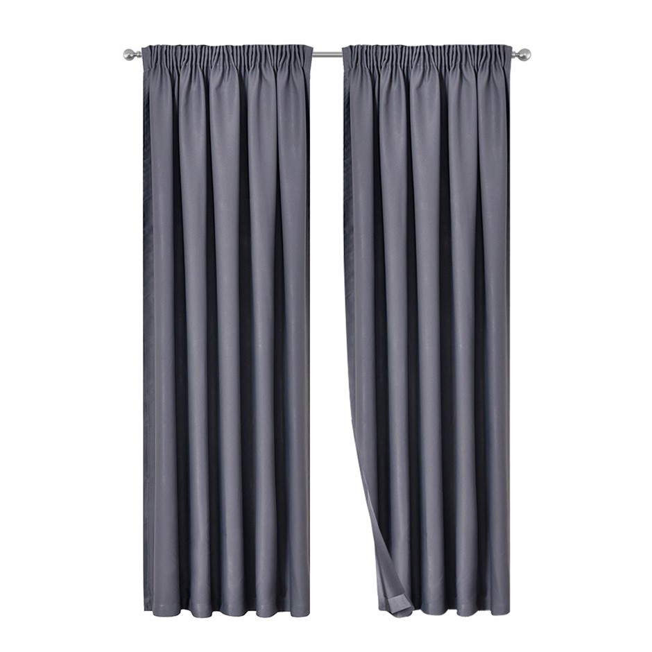 Artqueen 2x Pinch Pleat Blockout Curtains Blackout Darkening 180x230cm Grey