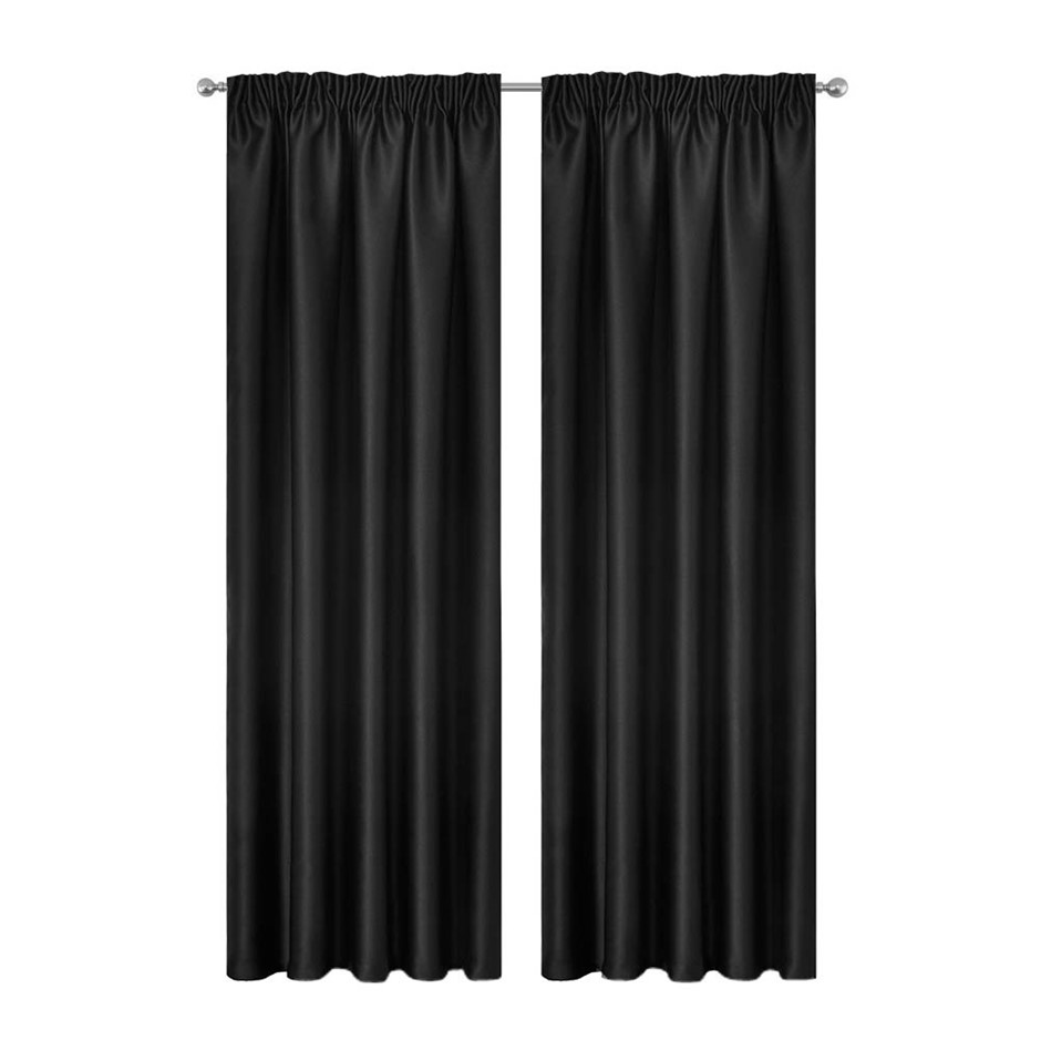 Artqueen 2x Pinch Pleat Blackout Blockout Curtains Darkening 240x230cm BK