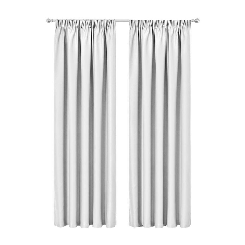 Artqueen 2x Pleated Blockout Curtains Blackout Darkening 300x230cm White