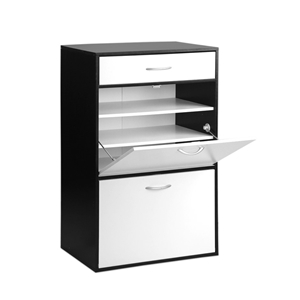 Artiss 6 Tier Shoe Cabinet - Black & Whi