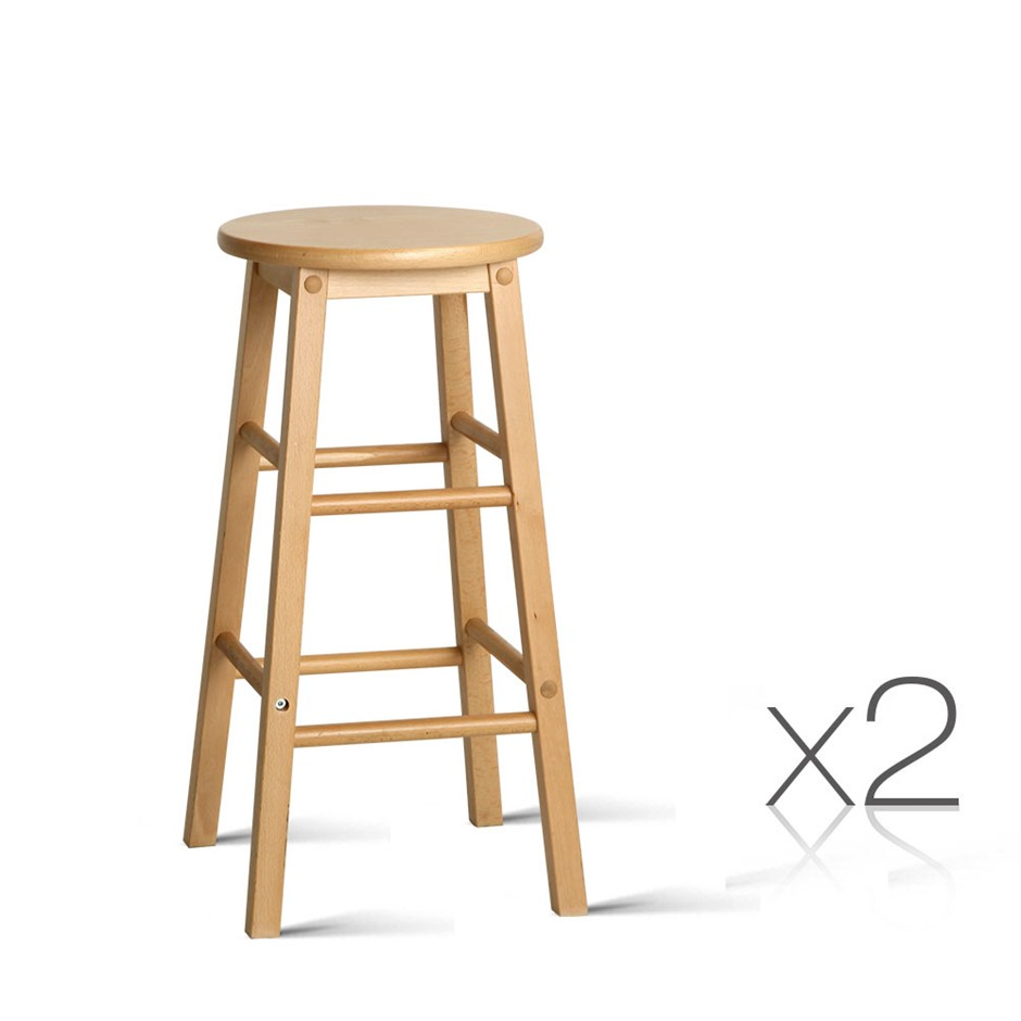 Artiss 2 x Wooden Bar Stools Bar Stool Dining Chairs Kitchen Nature