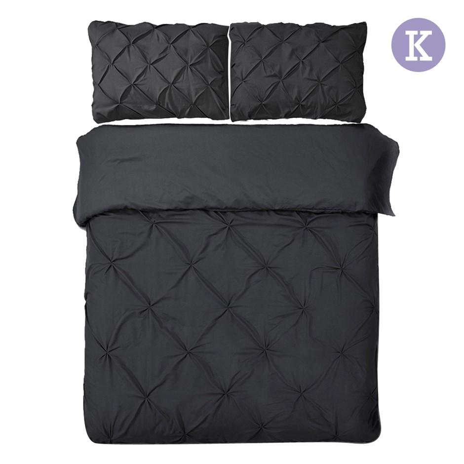 Giselle Bedding King Size Quilt Cover Set - Black