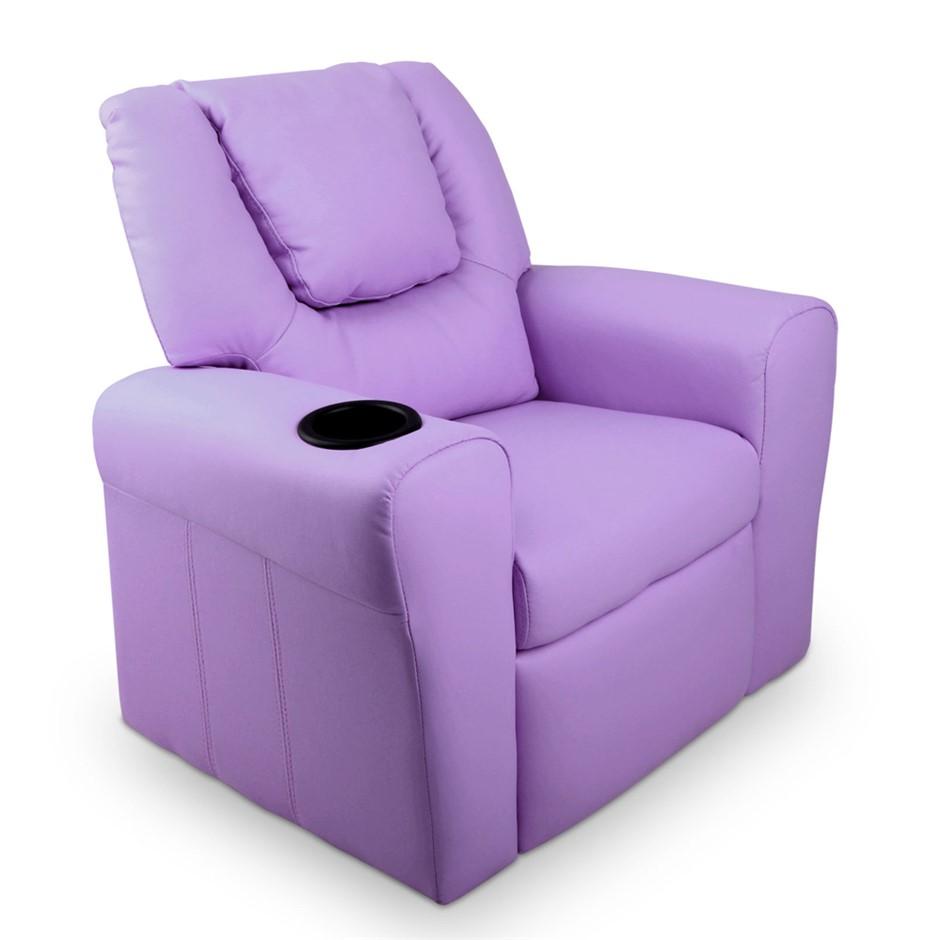 Artiss Kids PU Leather Reclining Armchair - Purple