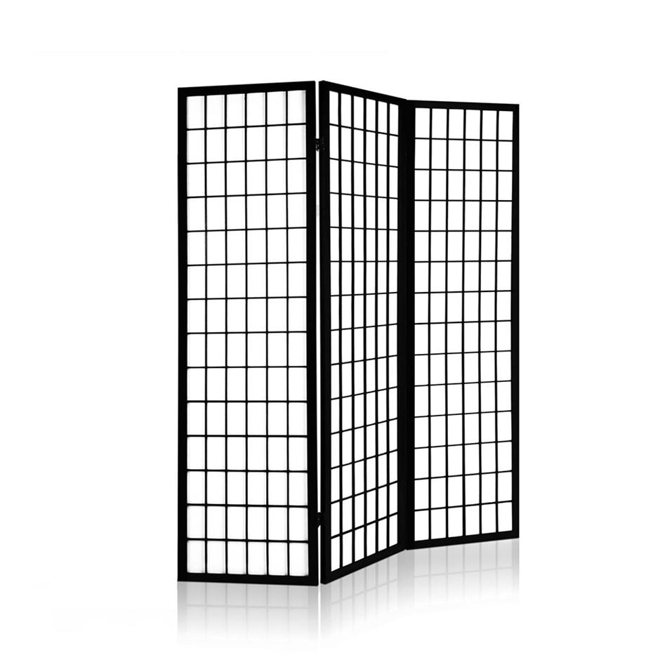 Artiss 3 Panel Wooden Room Divider - Black