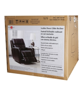 new concept 3340b 44ad7 PULASKI Leather Power Glider Recliner with USB Port, Tan ...