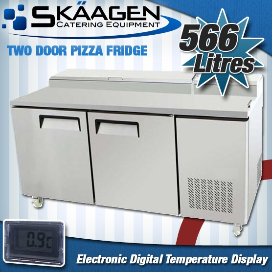 Unused TWO DOOR PIZZA PREP FRIDGE PPF02-SS