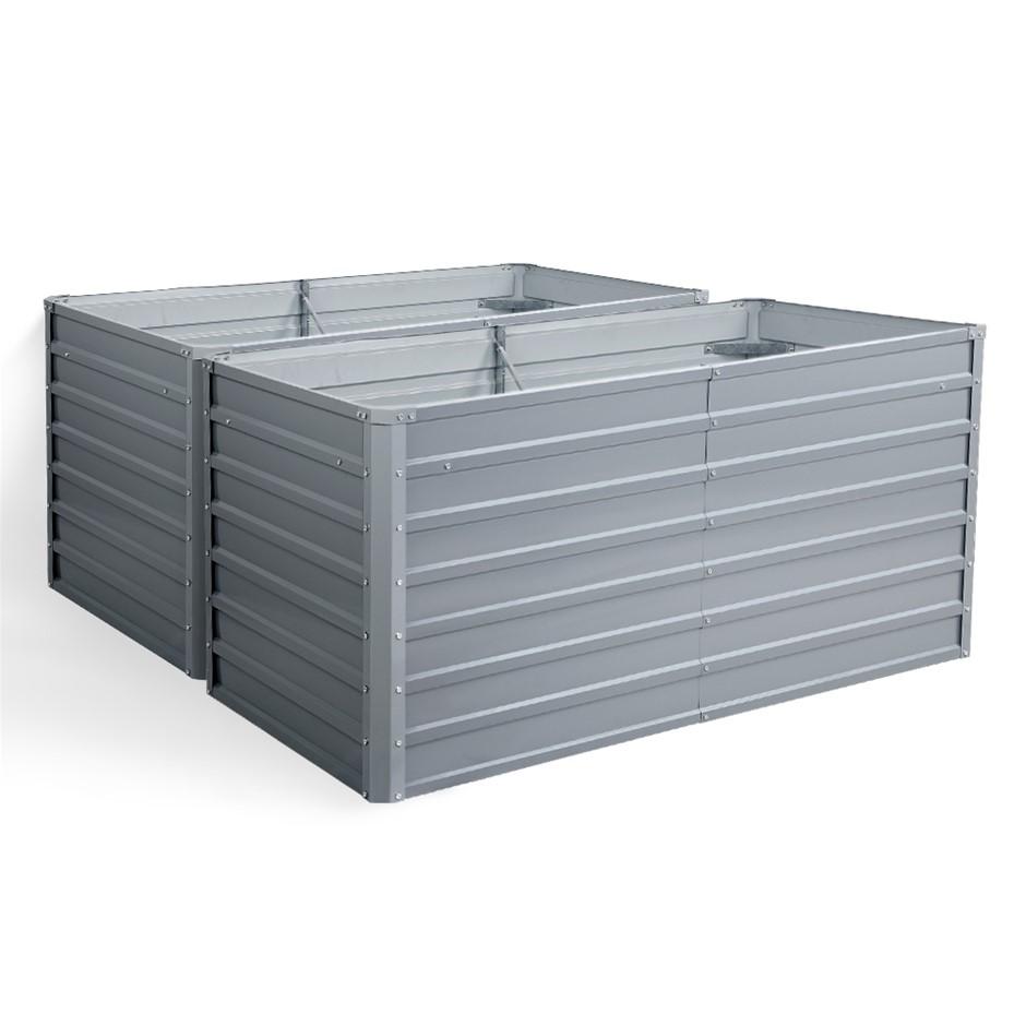 2x Galvanised Steel Garden Bed Instant Planter 160 x 80 x 77cm Aluminium