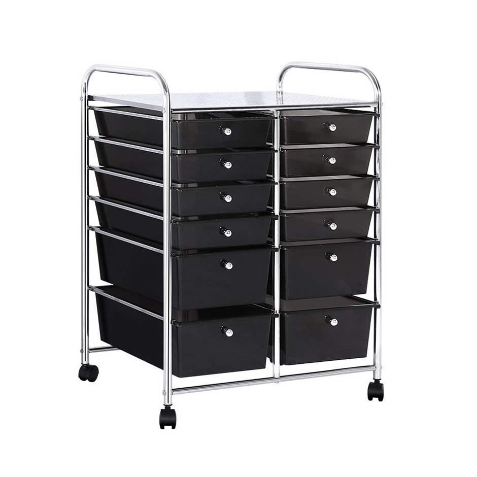 12 Drawer Kitchen Trolley Portable Rolling Cart Storage Rack Office BK