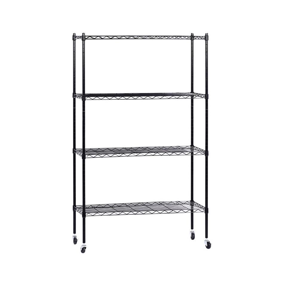 90cm 4-Tier Wire Shelving Racking Storage Shelf Shelves Organizer Portable