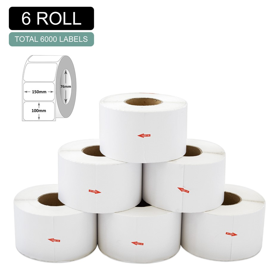 6 Rolls Thermal Label - Core 76mm x 1000pcs