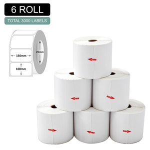 6 Rolls Thermal Label - Core 25mm x 500p
