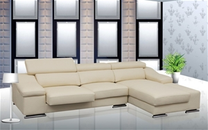 Ex Display Enrico 3 Seater Genuine Leather Lounge With Chaise Ivory Auction 0003 2071329
