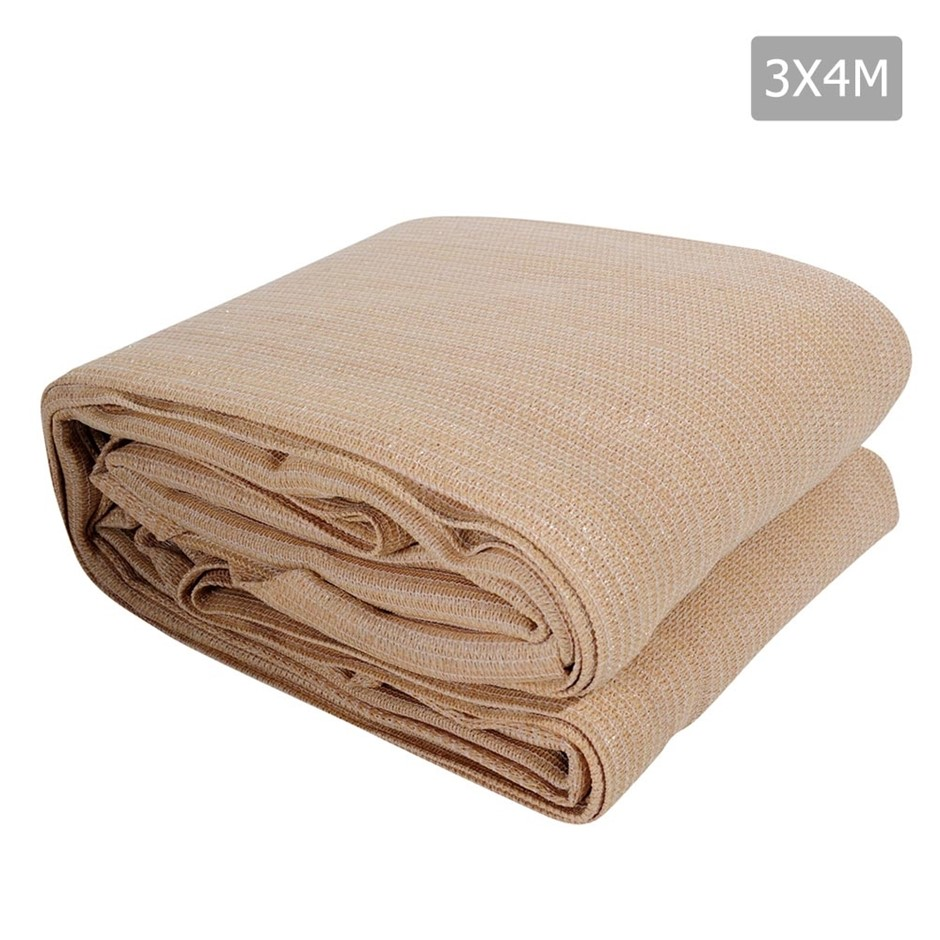 Instahut Sun Shade Sail Cloth Shadecloth Rectangle Canopy Sand 280gsm 3x4m