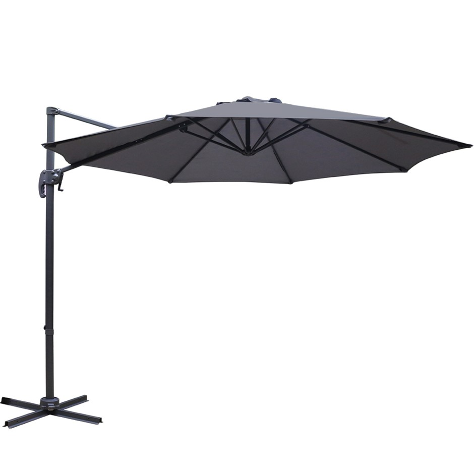 Instahut Deluxe Roma Outdoor Garden Umbrella Patio 360 Degree Charcoal
