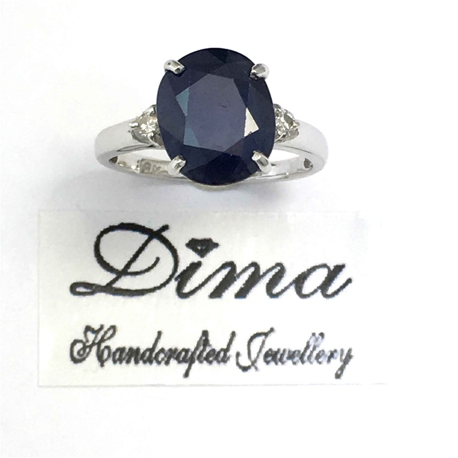 18ct White Gold, 2.52ct Sapphire and Diamond Ring