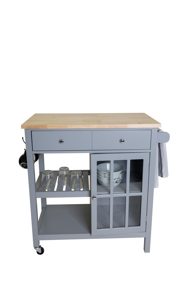 Montauk Kitchen Trolley 2 Drawer 1 Door - Grey