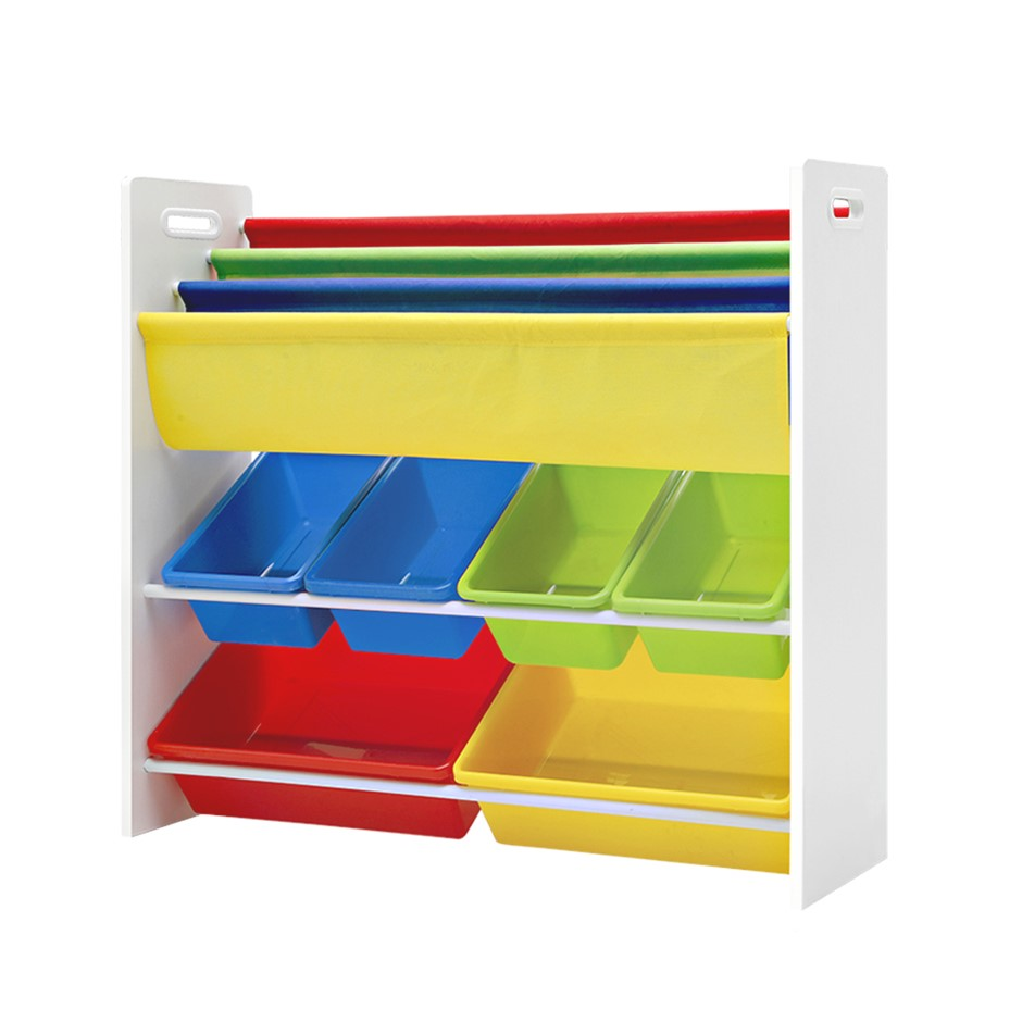 Artiss Kids Bookshelf Toy Box Organizer Bookcase 3 Tiers Display Rack