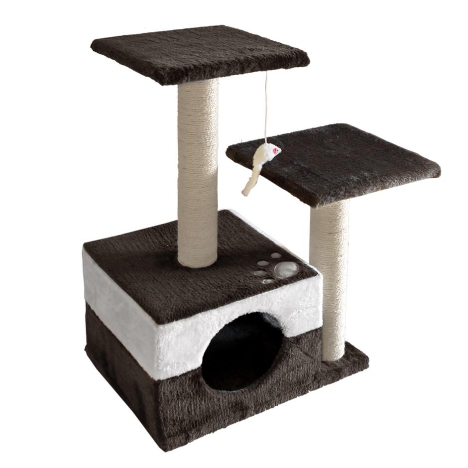 i.Pet 70cm Cat Scratching Tree Gym Post - White and Dark Grey