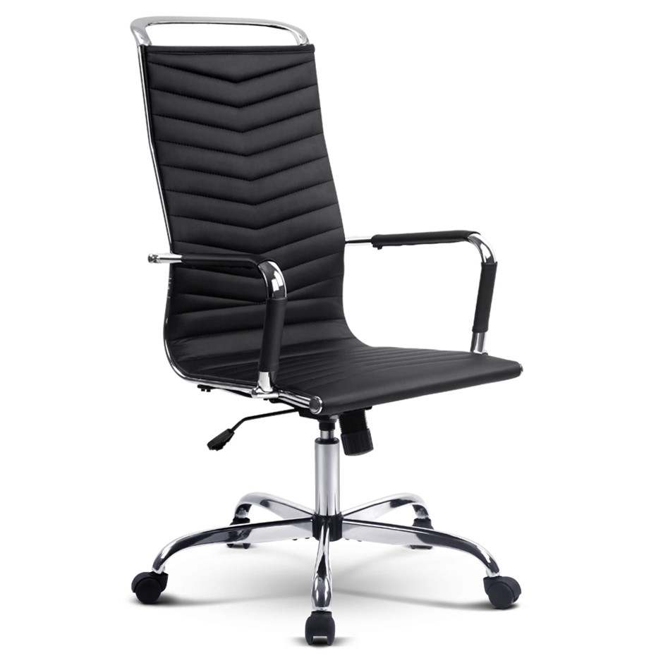 Eames Replica Office Chair Computer Seating PU Leather Executive Home Black