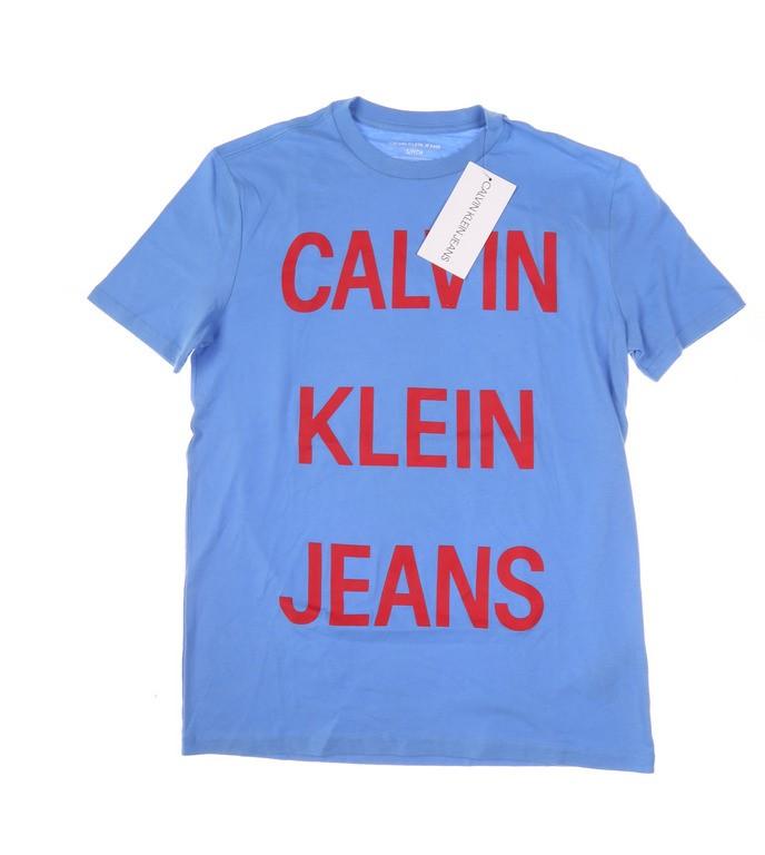 CALVIN KLEIN JEANS Men`s Spaced Out Logo Crew- Neck T-Shirt, Size S, 100% C