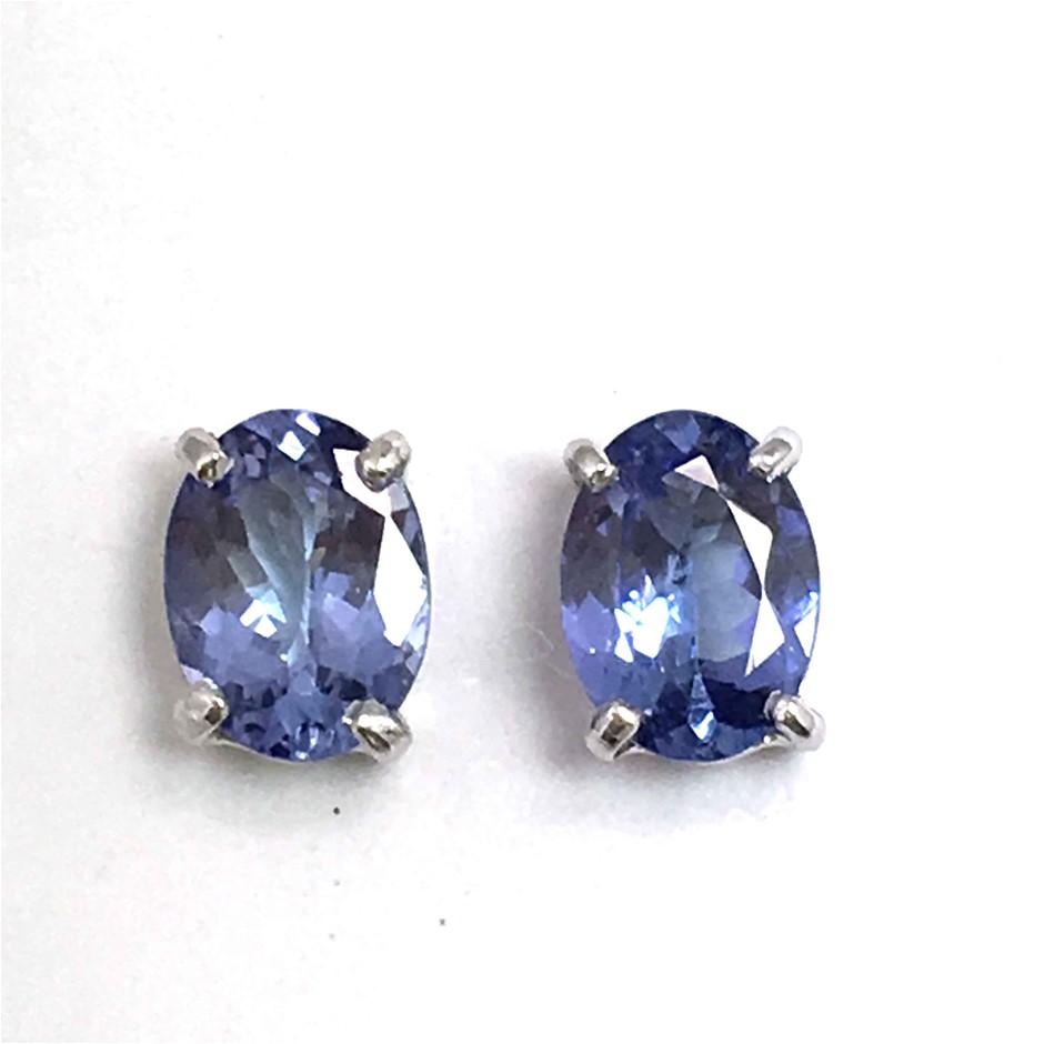 18ct White Gold, 3.18ct Tanzanite Stud Earrings