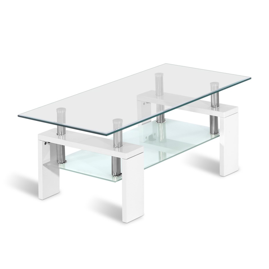 Artiss Coffee Table 2 Tier Glass Stainless Steel Storage Shelf White