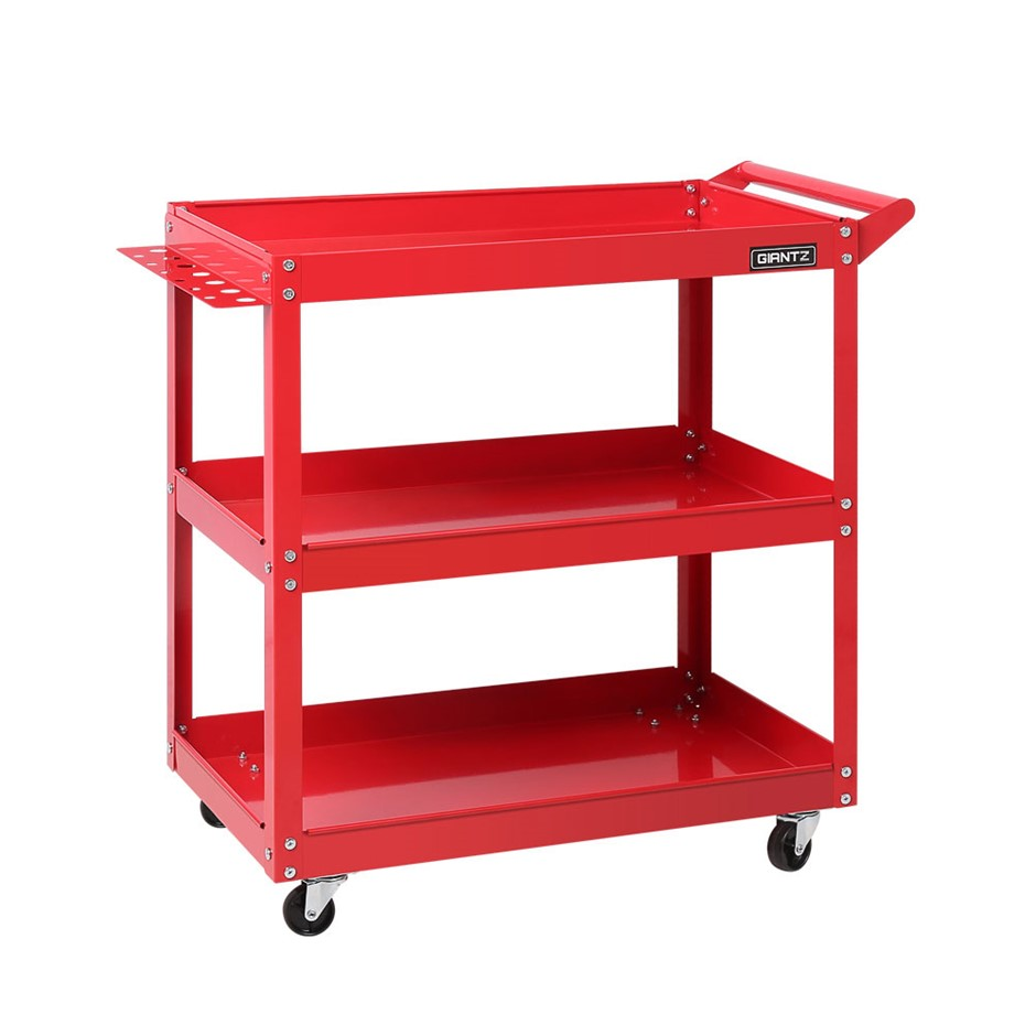 New Giantz Tool Cart 3-Tier Parts Steel Trolley Storage Organizer Red