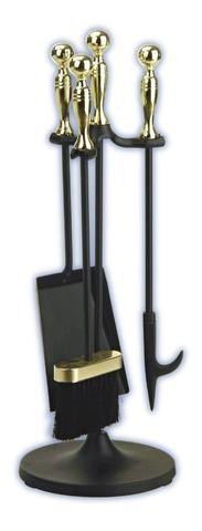 Melton Craft 4 PC Mini Firetool Set H56cm Brass/Black