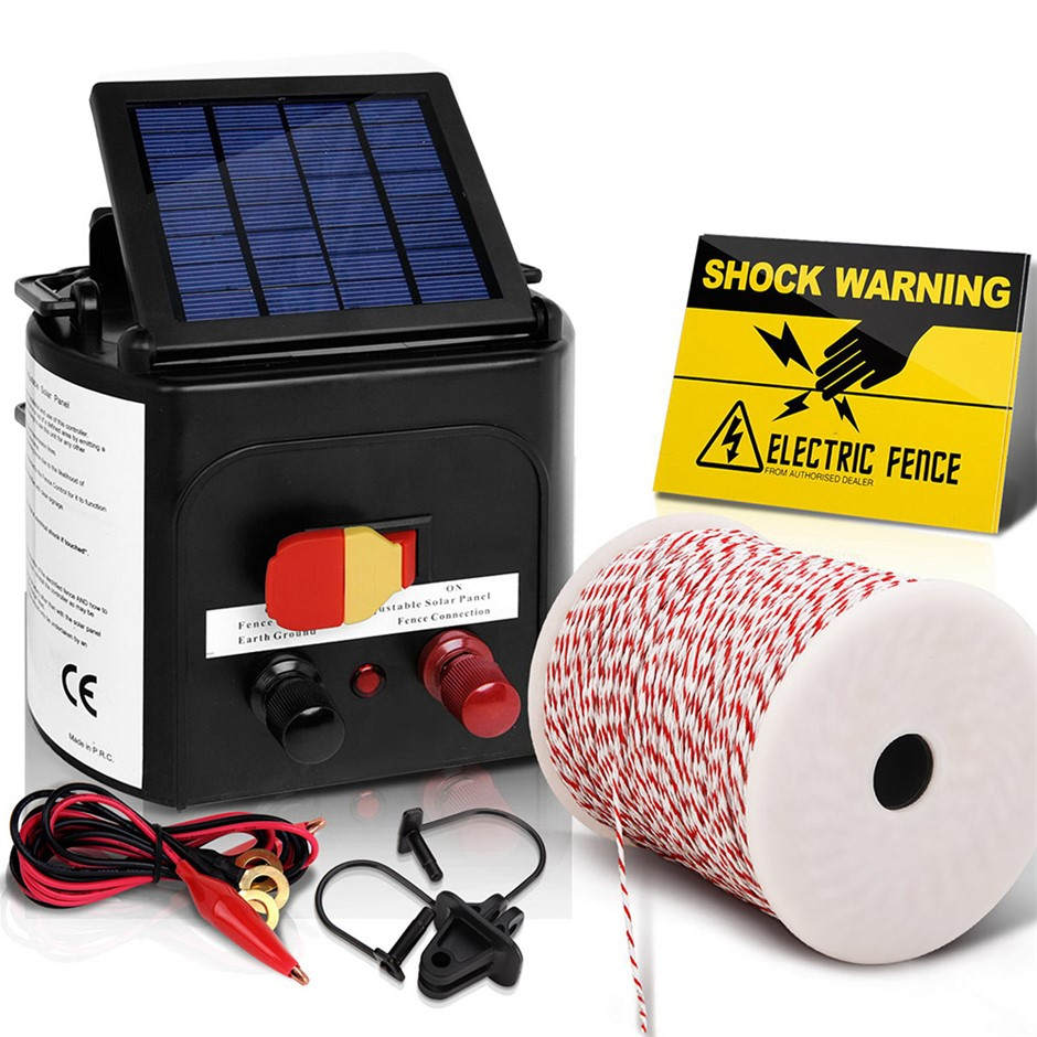 Giantz 3km Solar Electric Fence Energiser Charger 0.1J Farm Poly Wire