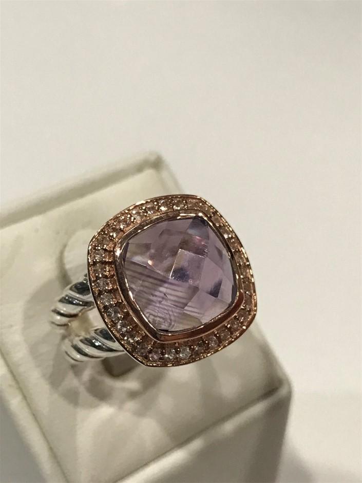 Lovely Amethyst Halo Ring 18K Rose/White Gold Vermeil Size L 1/2 (6)