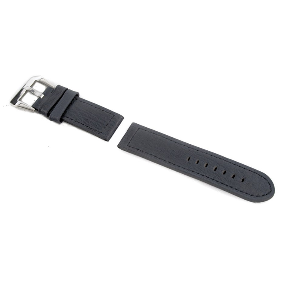 Elsa Black band Genuine Leather Strap 24/24 with Buckle fits Panerai Watch